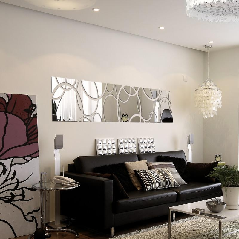 2015 New Hot Large Acrylic Mirror Wall Stickers 3D Sticker Home Throughout 3D Wall Art For Living Room (Image 2 of 20)