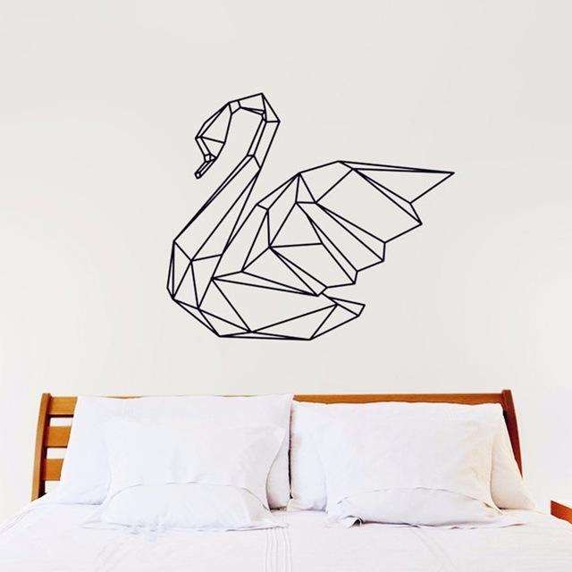2016 New Design Geometric Swan Wall Sticker Geometry Animal Decals In 3D Visual Wall Art (Image 2 of 20)
