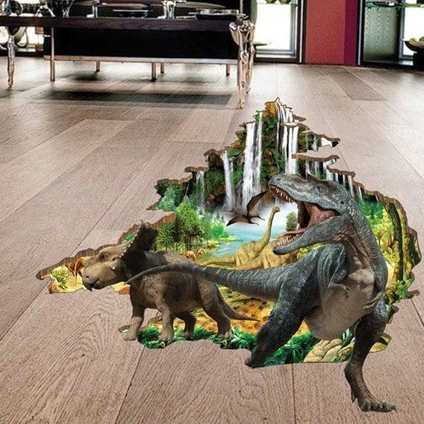 2017 Active Removable Dinosaur Forest 3D Wall Art Sticker Colormix Throughout Dinosaurs 3D Wall Art (Photo 5 of 20)