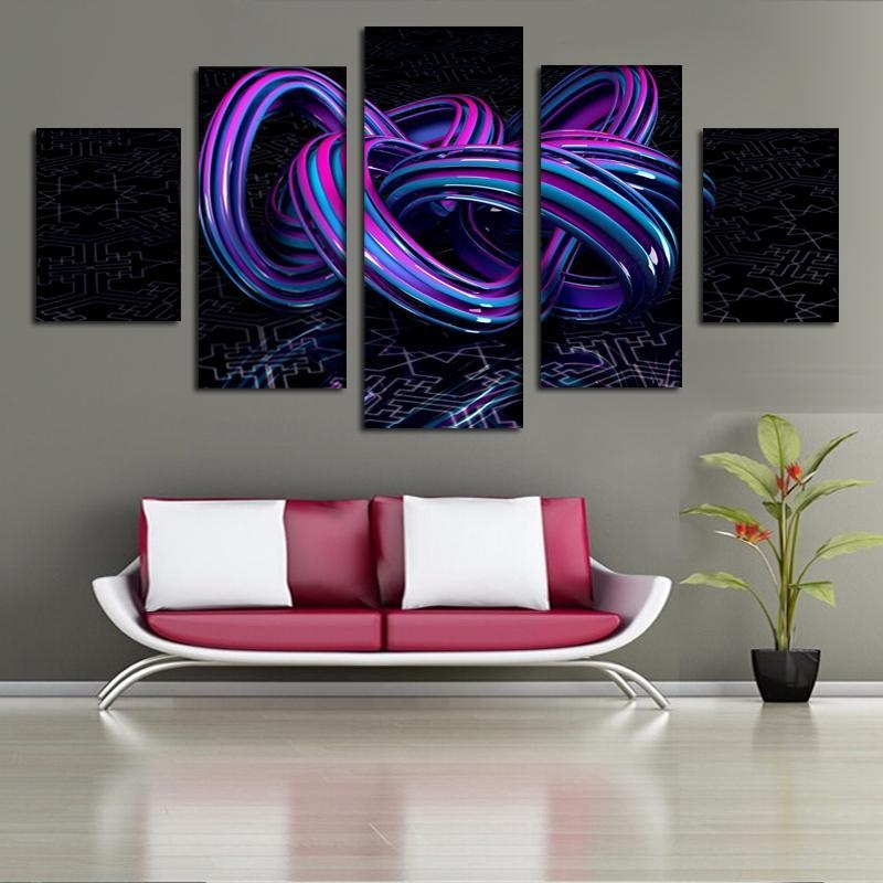 2018 Three Dimensional Printing 5 Panel Abstract Art Canvas Regarding 3D Wall Art Canvas (Image 1 of 20)