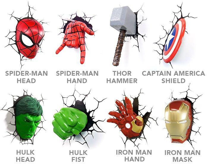 25+ Unique Superhero Wall Lights Ideas On Pinterest | Avengers In 3D Wall Art Iron Man Night Light (Image 2 of 20)