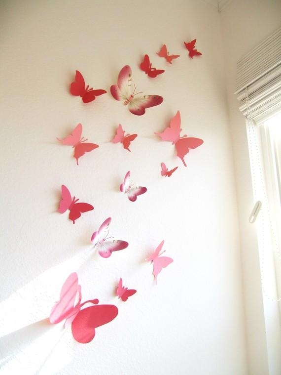 30 Butterflies 3 Lanterns Paper Art Hanging 3D Pink Intended For 3D Wall Art For Baby Nursery (Image 3 of 20)