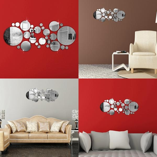 30Pcs 3D Circle Mirror Wall Stickers Acrylic Vinyl Decal Home Art With Regard To Circles 3D Wall Art (Image 1 of 20)