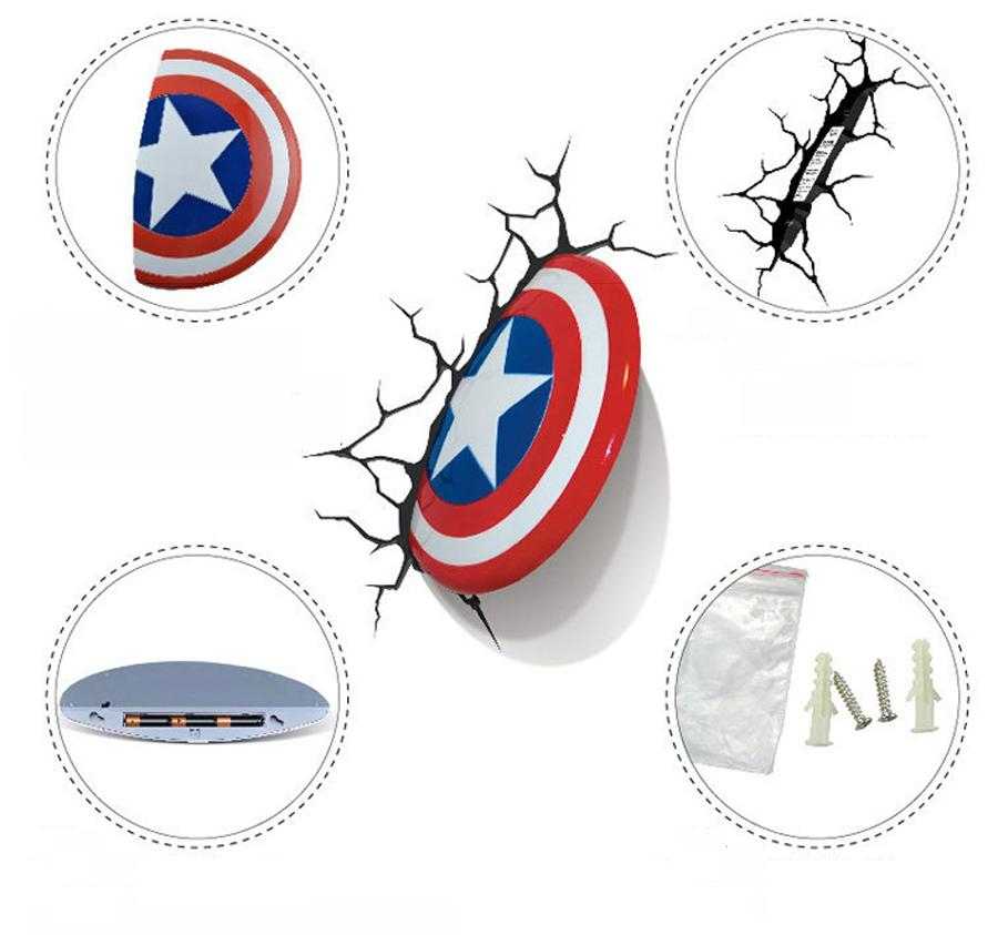 3D Avengers Alliance Captain America Shield Creative Led Wall Lamp Intended For 3D Wall Art Captain America Night Light (Image 2 of 20)