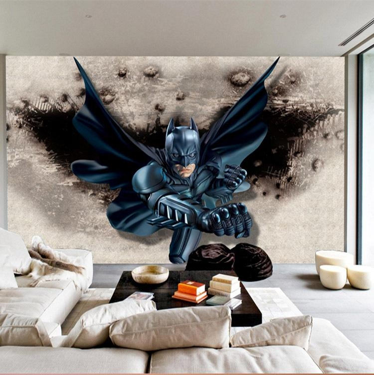 3D Batman Wall Mural Custom Large Photo Wallpaper Super Hero Pertaining To Batman 3D Wall Art (View 4 of 20)