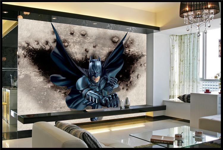 3D Batman Wall Mural Custom Large Photo Wallpaper Super Hero With Regard To Batman 3D Wall Art (View 18 of 20)