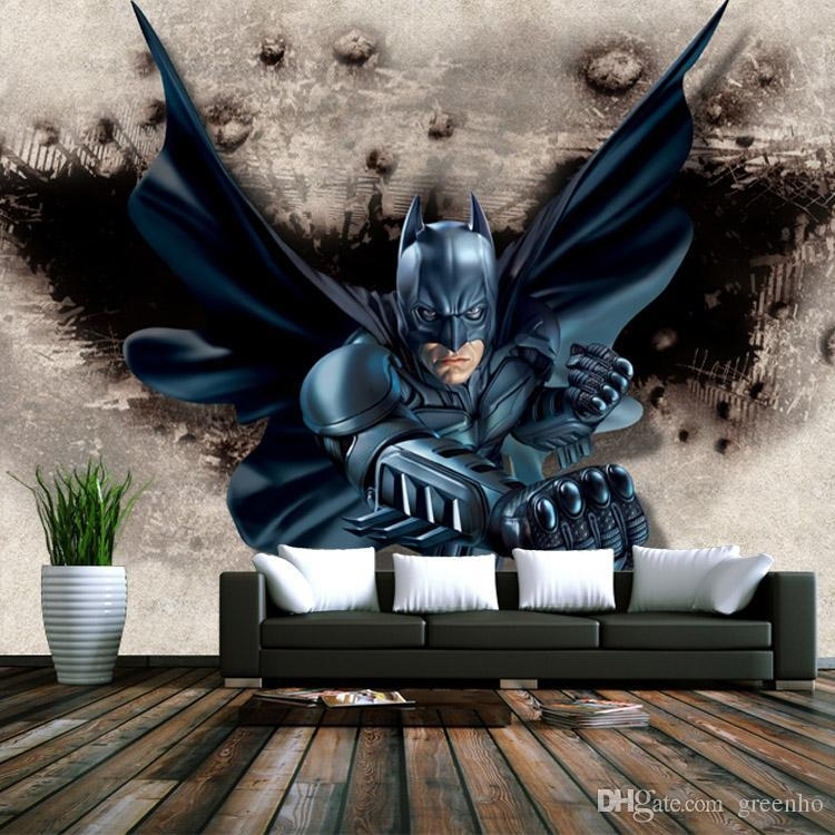 3D Batman Wallpaper Custom Photo Wallpaper Super Hero Wall Mural Regarding Batman 3D Wall Art (View 2 of 20)
