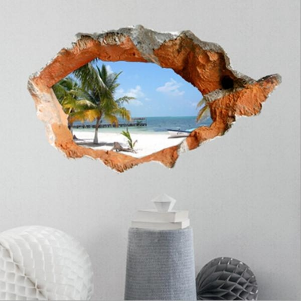3D Beach Wall Decals 38 Inch Removable Sea Wall Art Stickers Home For Decorative 3D Wall Art Stickers (Photo 13 of 20)