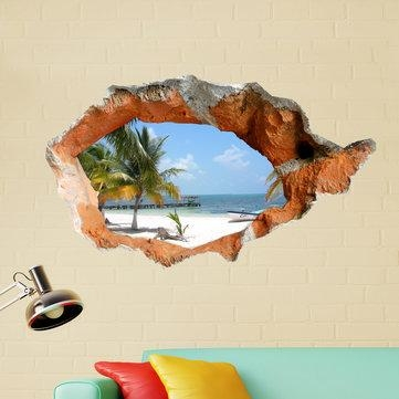 3D Beach Wall Decals 38 Inch Removable Sea Wall Art Stickers Home With Beach 3D Wall Art (Image 1 of 20)