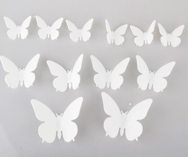 3D Butterfly 6Colors Wall Stickers Butterflies Home Improvement In White 3D Butterfly Wall Art (Image 7 of 20)