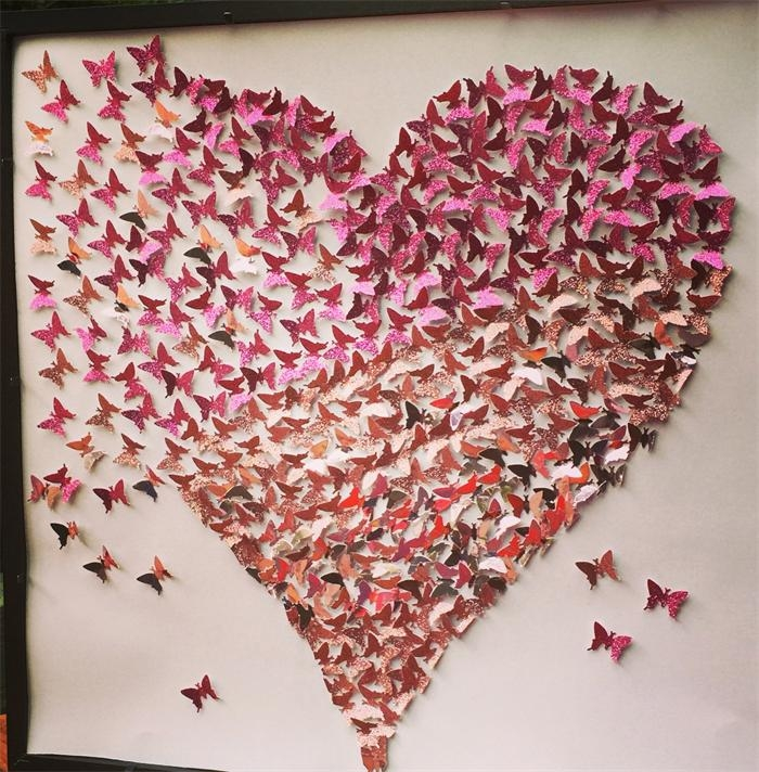 3D Butterfly Heart Wall Art | Heart Frame | Paper Wall Art With Heart 3D Wall Art (Image 4 of 20)