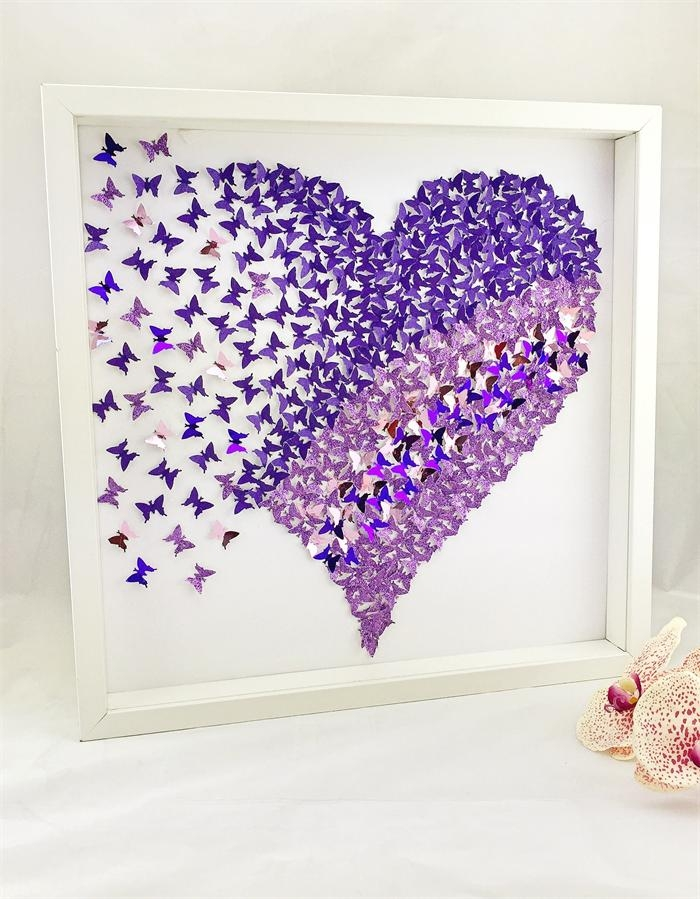3D Butterfly Heart Wall Art | Heart Frame | Paper Wall Art With Heart 3D Wall Art (Image 5 of 20)