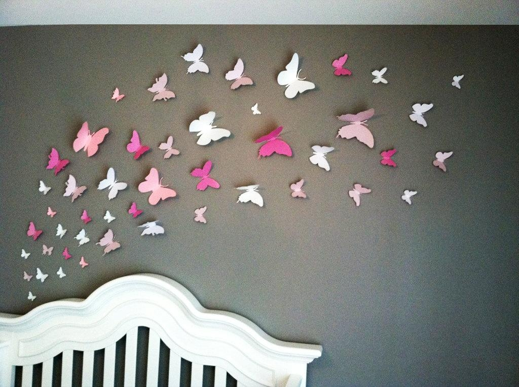 3D Butterfly Wall Art Home Decor Girls Room Pink And White With Diy 3D Butterfly Wall Art (Image 10 of 20)