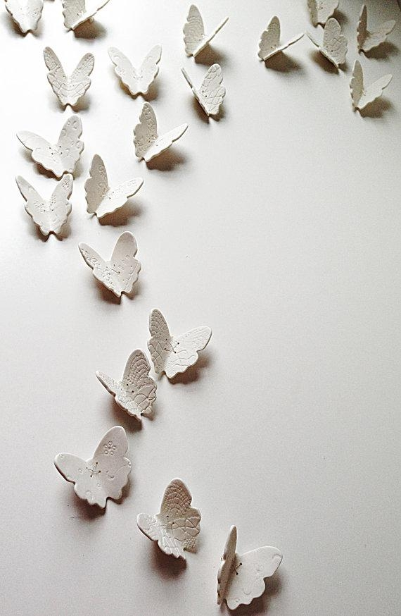 3D Butterfly Wall Art Large Wall Art Set 21 White Porcelain Throughout White 3D Butterfly Wall Art (Image 9 of 20)