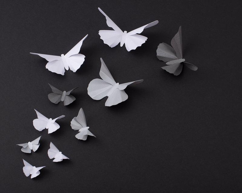3D Butterfly Wall Art: Metallic Silhouettes For Girls Room Within White 3D Butterfly Wall Art (Image 10 of 20)