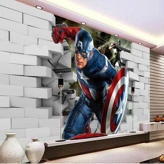 3D Captain America Wallpaper Avengers Photo Wallpaper Cool Wall Within Captain America 3D Wall Art (Image 3 of 20)