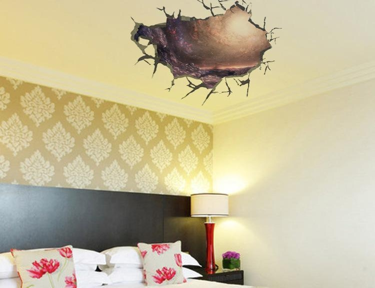 3D Cracked Wall Decal Sticker Living Room Bedroom Ceiling Wall For 3D Wall Art For Living Room (Image 3 of 20)