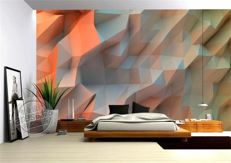 3D Creative Orange Space Wallpaper Bedroom Unique Design Mural Pertaining To Unique 3D Wall Art (Image 5 of 20)