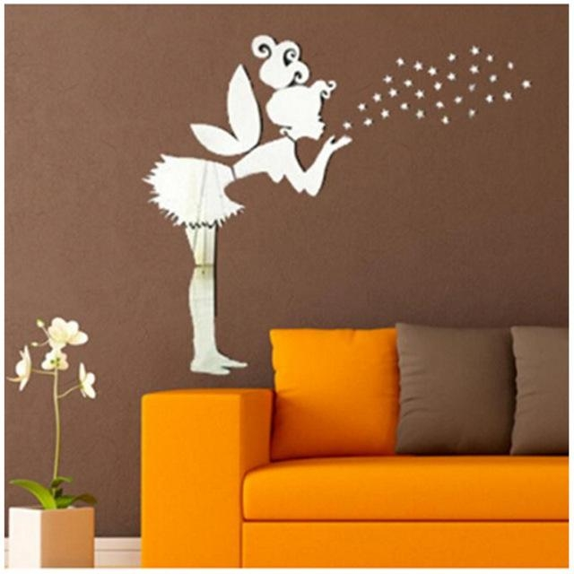 3D Diy Mirror Wall Stickers Fairy Girl Blow Stars Vintage Bedroom Pertaining To Vintage 3D Wall Art (Image 1 of 20)