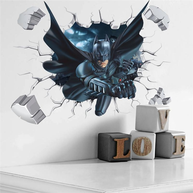 3D Effect Batman Wall Sticker For Kids Boys Rooms Home Decor Wall With Batman 3D Wall Art (View 12 of 20)