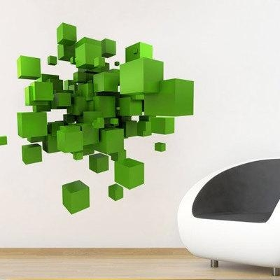 3D Effect Space Cubes Sticker Wall Decor · Moonwallstickers Pertaining To Cubes 3D Wall Art (Image 2 of 20)