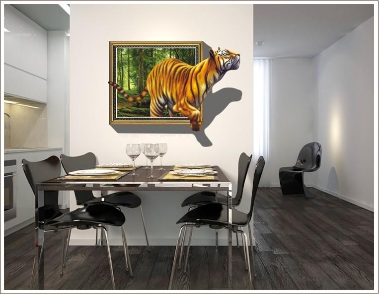 3D Effect Tiger In Frame – Printed Vinyl Wall Sticker Decal Décor In 3D Effect Wall Art (Image 2 of 20)
