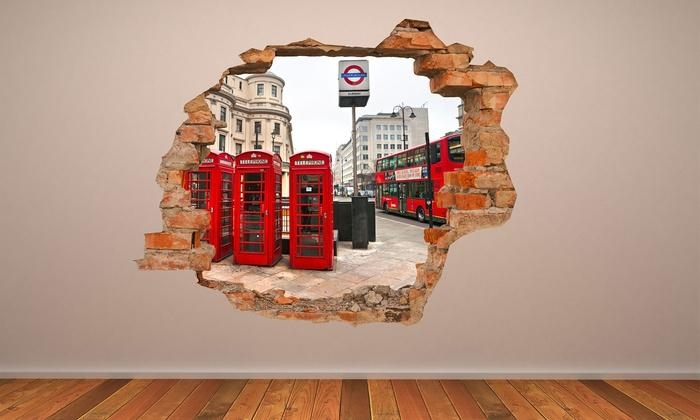 3D Effect Wall Vinyl | Groupon Goods Within 3D Effect Wall Art (View 1 of 20)