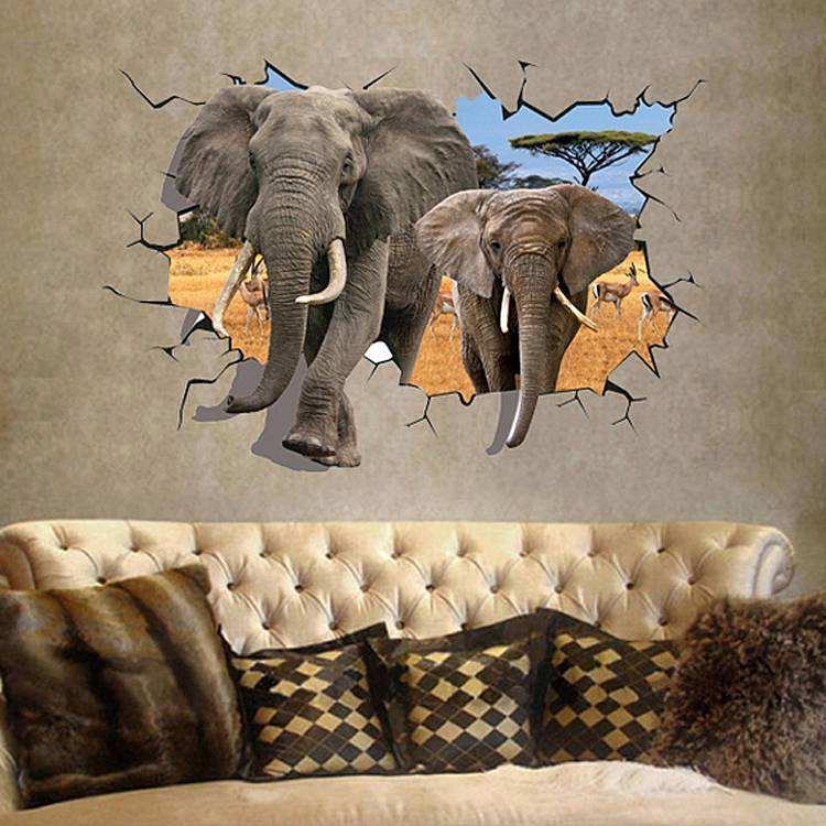 3D Elephant Wall Sticker Decal | Animals | Wall Decals Pertaining To Animals 3D Wall Art (Image 2 of 20)