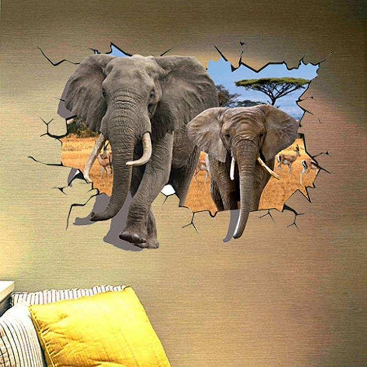 3D Elephant Wall Sticker Decal | Animals | Wall Decals Pertaining To Animals 3D Wall Art (Image 3 of 20)