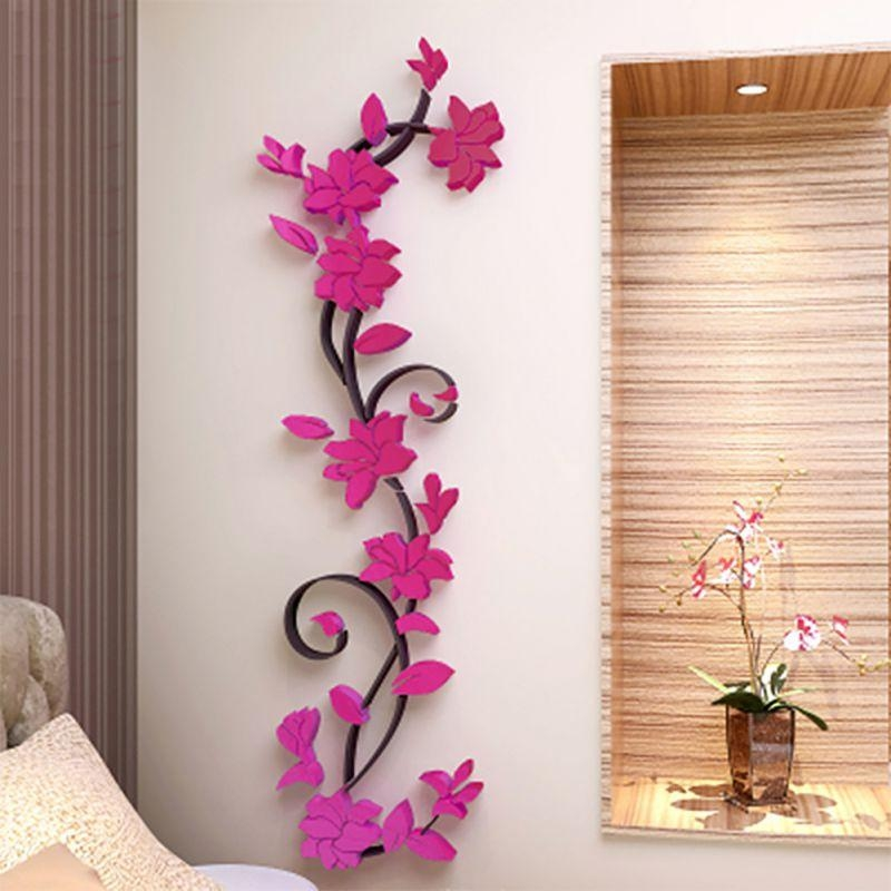 3D Flower Beautiful Diy Mirror Wall Decals Stickers Art Home Room For 3D Flower Wall Art (Image 1 of 20)