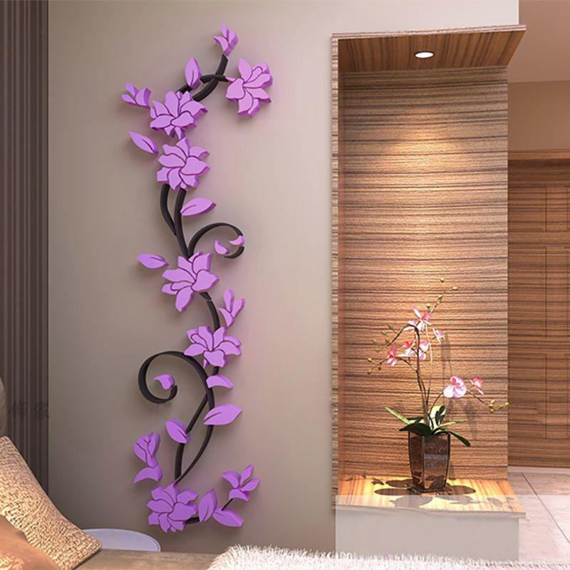 3D Flower Beautiful Diy Mirror Wall Decals Stickers Art Home Room Inside Flowers 3D Wall Art (Image 1 of 20)