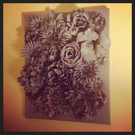 3D Flower Wall Art | 3D Wall Art: Faux Flowers Hot Glued To Canvas Within Flowers 3D Wall Art (Image 2 of 20)