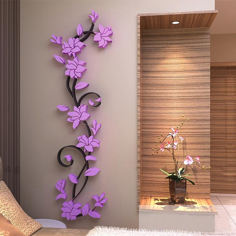3D Flower Wall Decor | Himalayantrexplorers Regarding 3D Flower Wall Art (Image 2 of 20)