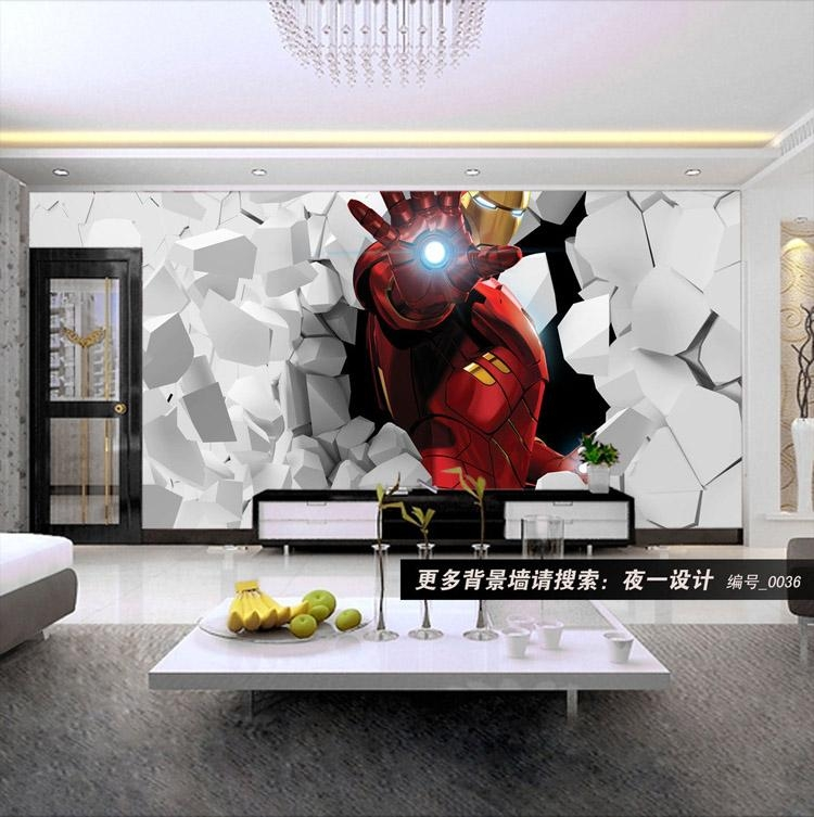 3D Iron Man Photo Wallpaper Custom Wall Murals Amazing Wallpaper Inside Iron Man 3D Wall Art (View 14 of 20)