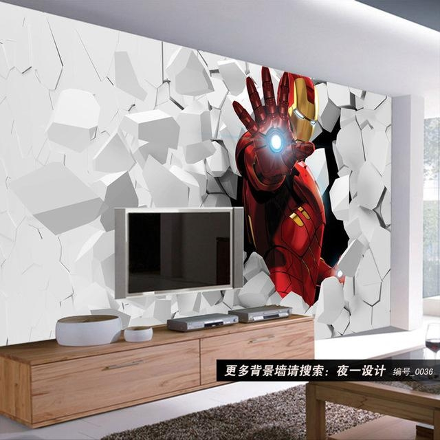 3D Iron Man Photo Wallpaper Custom Wall Murals Amazing Wallpaper Intended For Iron Man 3D Wall Art (View 9 of 20)