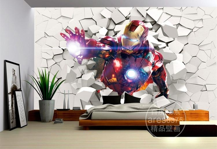 3D Iron Man Wallpaper Marvel Heroes Photo Wallpaper Custom Wall Intended For Marvel 3D Wall Art (Image 2 of 20)