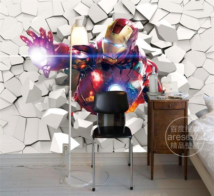 3D Iron Man Wallpaper Marvel Heroes Photo Wallpaper Custom Wall Regarding Marvel 3D Wall Art (Image 3 of 20)