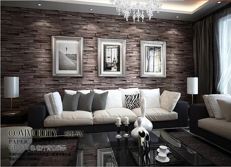 3D Luxury Wood Blocks Effect Stone Vinyl Wallpaper Roll Living With 3D Wall Art For Living Room (Image 4 of 20)