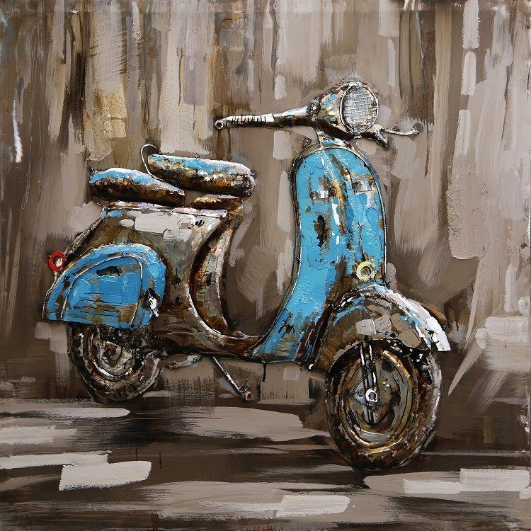 3D Metal Wall Art Scooter 3 Painting Only £ (Image 4 of 20)