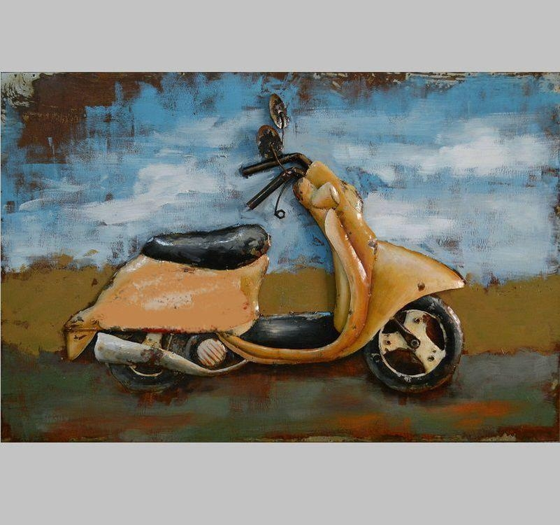 3D Metal Wall Art Scooter Painting Only £ (View 18 of 20)