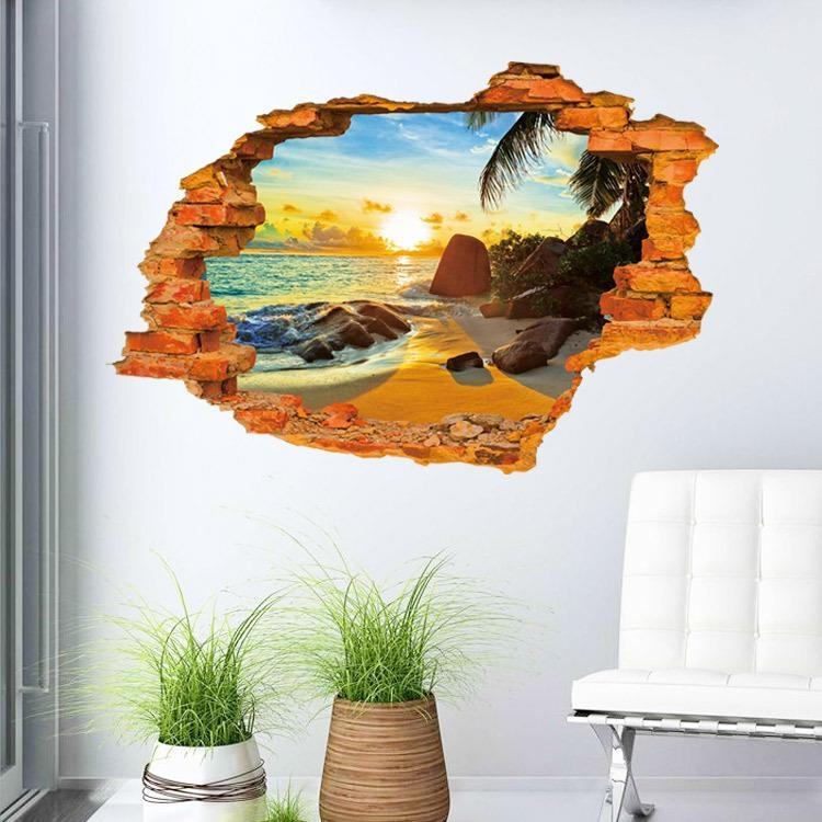 3D Minecraft Wall Sticker Hole In The Wall Sun Sea Wallpaper With Minecraft 3D Wall Art (Image 3 of 20)