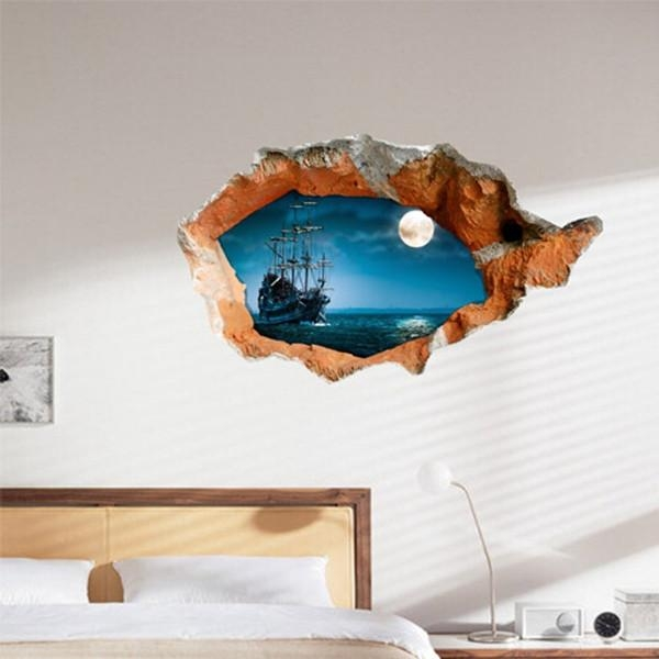 3D Night Boat Wall Decals Wall Hole Wall Art Stickers 38 Inch Within Decorative 3D Wall Art Stickers (Photo 11 of 20)