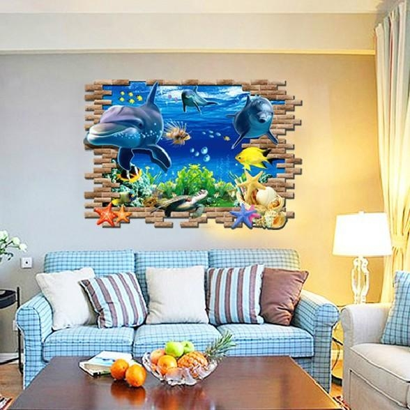 3D Ocean Sea World Wall Sticker Creative Dolphin Fish Wallpaper With Vinyl 3D Wall Art (Image 4 of 20)