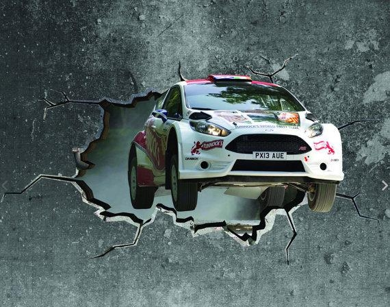 3D Rally Car Cracked Wall Effect Sticker Mural Decal Graphic With Cars 3D Wall Art (View 2 of 20)