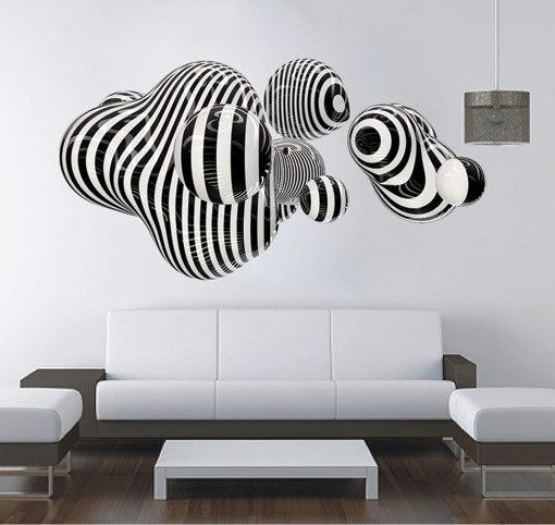 3D Shape Wall Art Abstract Sticker Op Art · Moonwallstickers In Abstract Wall Art 3D (Photo 9 of 20)
