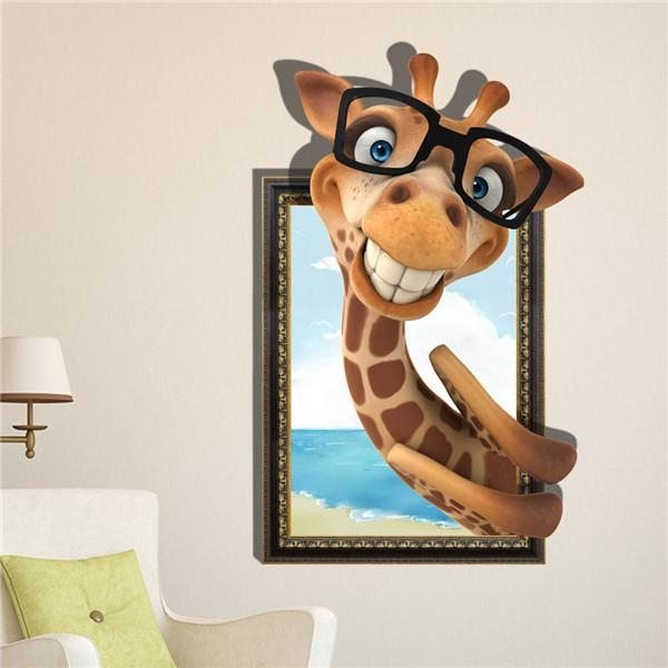 3D Smile Giraffe Wall Decals Removable Lovely Animal Wall Stickers Pertaining To Decorative 3D Wall Art Stickers (Image 7 of 20)