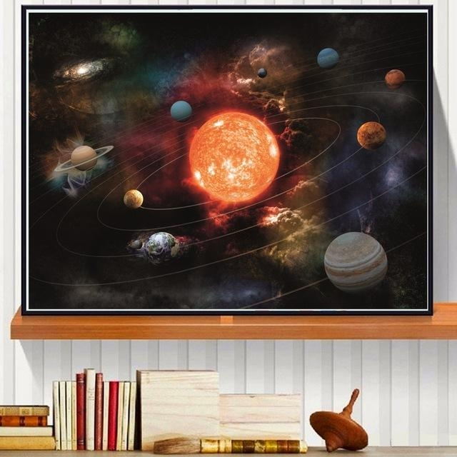 3D Solar System Canvas Art Print Painting Poster Wall Pictures For With 3D Solar System Wall Art Decor (Image 3 of 20)