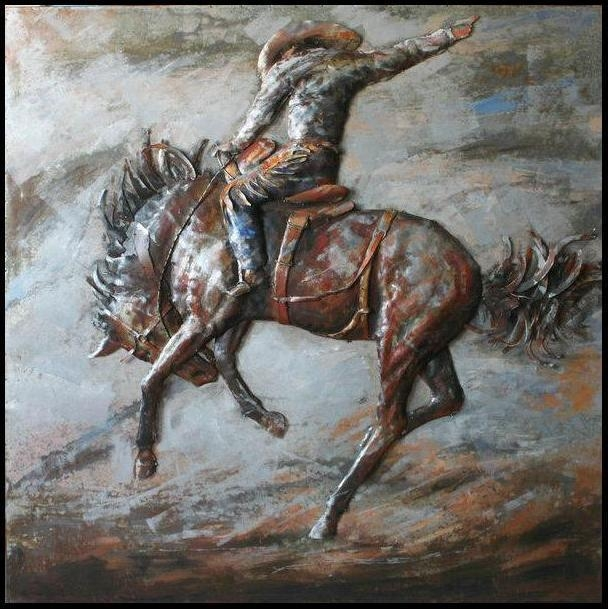 3D Steel Wall Art – Painting On Metal Bucking Horse In 3D Horse Wall Art (Image 6 of 20)