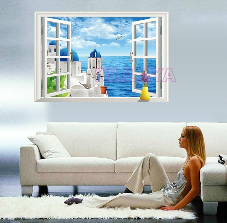 3D Stereoscopic Seaside Landscape Vinyl Walls Sticker Home Decor Within 3D Wall Art Window (Photo 14 of 20)