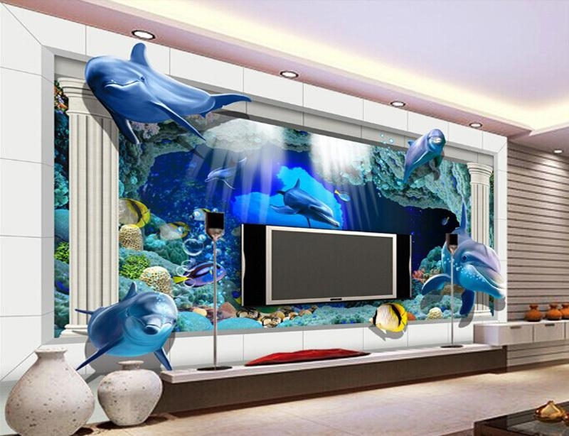 3D Underwater World Photo Wallpaper Custom Dolphin Wallpaper Ocean Throughout Unique 3D Wall Art (Image 8 of 20)